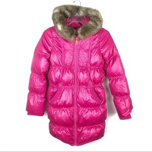 Juicy Couture | Pink Hooded Puffer Jacket Faux Fur